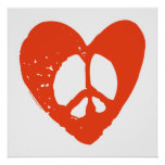 Red Grunge Heart with Peace Sign Print