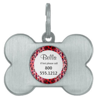 Red Grunge Leopard Pet Identity Tag Pet Tag