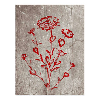 Red Grunge Medieval Flower Art Postcard