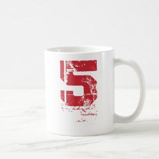 RED GRUNGE NUMBER 5 COFFEE MUG