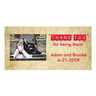 Red Grunge Old Vintage Wedding Thank You Card