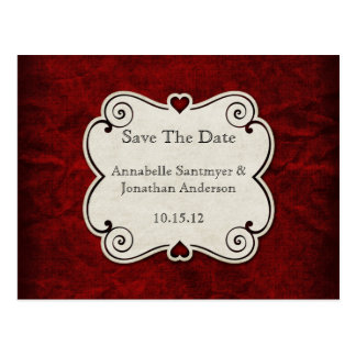 Red Grunge Paper Red Heart Frame Save The Date Postcard
