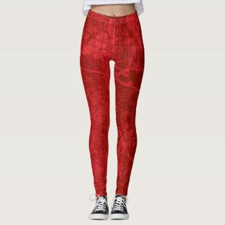 Red grunge pattern leggings