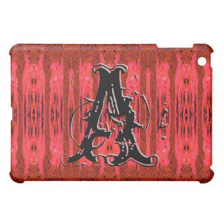 Red Grunge Pattern Monogrammed Ipad Case