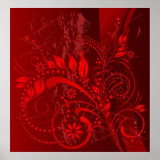 red grunge poster