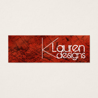 red grunge skinny business card