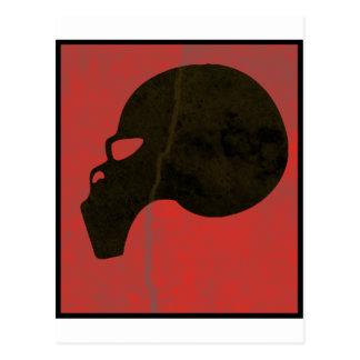 Red grunge skull postcard