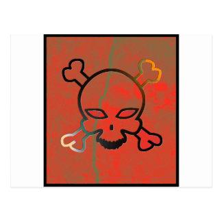 Red grunge skull post cards