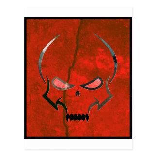 Red grunge skull post card
