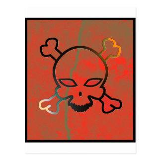 Red grunge skull postcards