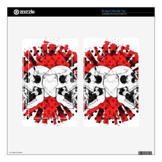 Red Grunge Skull Skins For Kindle Fire
