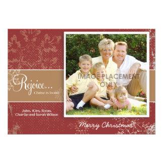Red Grunge Snowflake Photo Card Custom Invitations