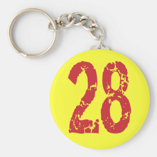 RED GRUNGE STYLE NUMBER 28 KEYCHAIN