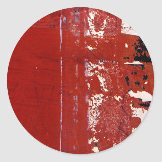 Red Grunge Texture with graffiti Classic Round Sticker