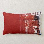 Red Grunge Throw Pillow