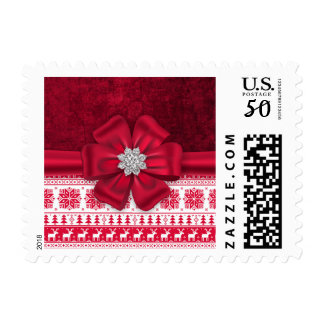 Red Grungy Diamond Christmas Sweater Stamps