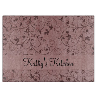 Red Grungy Floral Cutting Board