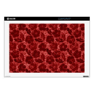 """red grungy floral decals for 17"""" laptops"""