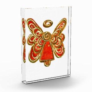 Red Guardian Angel Art Paperweight Acrylic Award