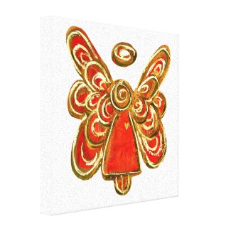 Red Guardian Angel Art Wrapped Canvas Painting