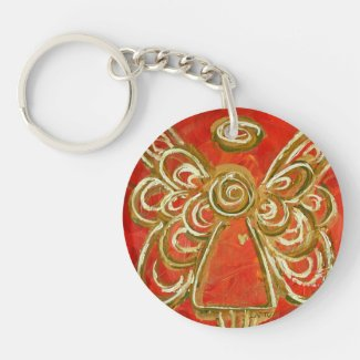 Red Guardian Angel Custom Keychain
