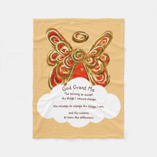 Red Guardian Angel Serenity Prayer Blanket