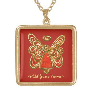 Red Guardian Angel Series Gold Necklaces