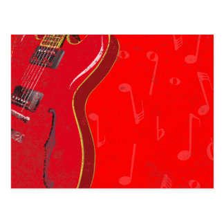 Red Guitar Background Postcard