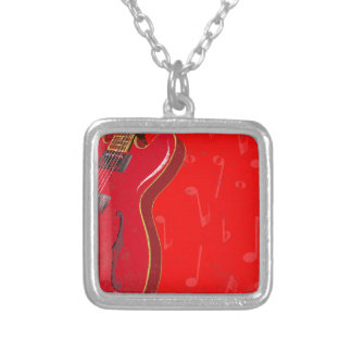 Red Guitar Background Silver Plated Necklace