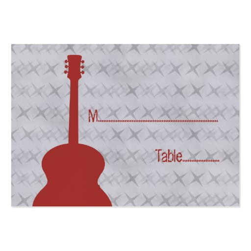 Red Guitar Grunge Place Card Large Business Cards (Pack Of 100)