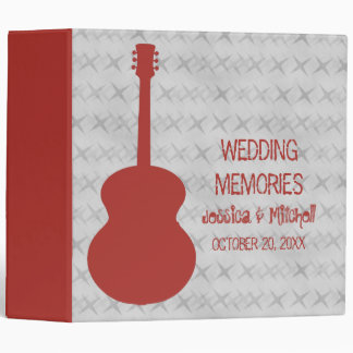Red Guitar Grunge Wedding Binder