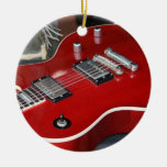 Red guitar on amp christmas tree ornament
