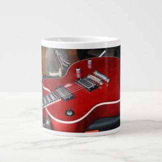 Red guitar on amp large coffee mug