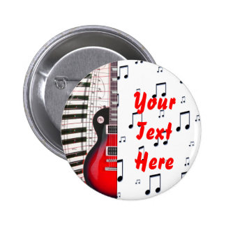 Red Guitar Piano Keys and Note 2 Inch Round Button