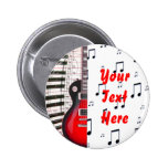 Red Guitar Piano Keys and Note Button