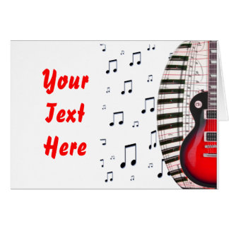 Red Guitar Piano Keys and Note Card