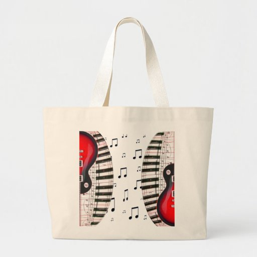 Red Guitar Piano Keys and Note Large Tote Bag