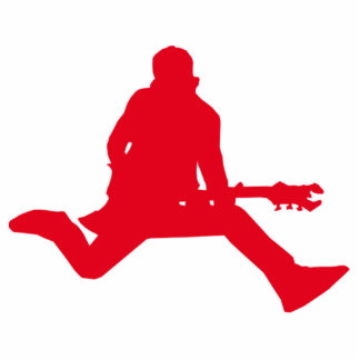 Red Guitar Player Silhouette Standing Photo Sculpture