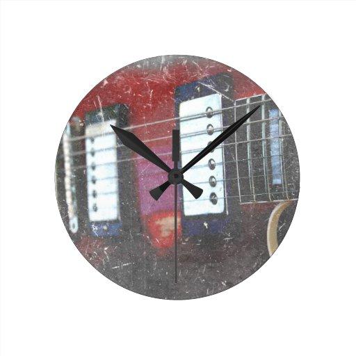 red guitar strings bridge grunge music design round wall clock