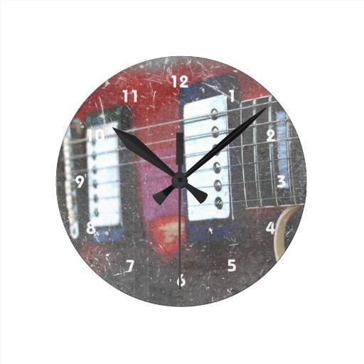 red guitar strings bridge grunge music design round clock