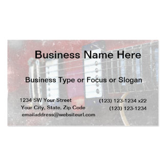 red guitar strings bridge grunge music design Double-Sided standard business cards (Pack of 100)