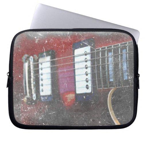 red guitar strings bridge grunge music design laptop computer sleeve