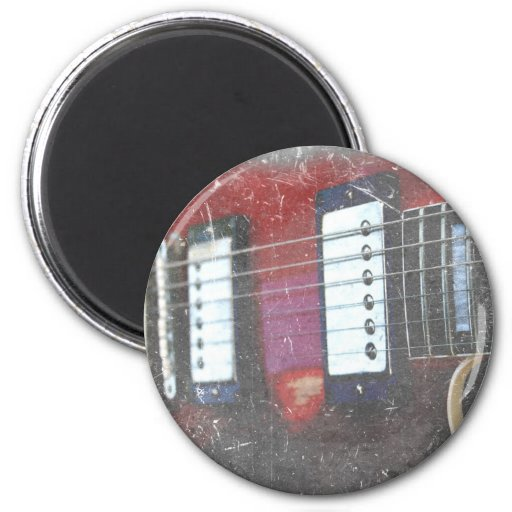 red guitar strings bridge grunge music design fridge magnet