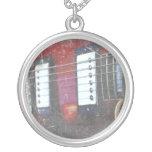 red guitar strings bridge grunge music design pendant