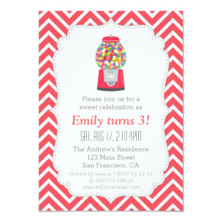 Red Gumball Machine Candy Birthday Party 4.5x6.25 Paper Invitation Card