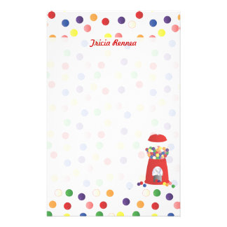 Red Gumball Machine Stationery Paper