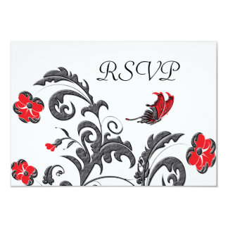 Red & Gunmetal Gray Modern Floral Wedding Card