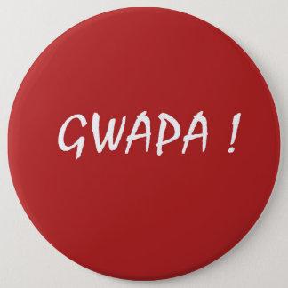 Red gwapa text design cebuano Filipino Tagalog Button