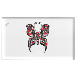Red Haida Spirit Butterfly on White Place Card Holder