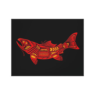 Red Haida Spirit Fish on Black Canvas Print